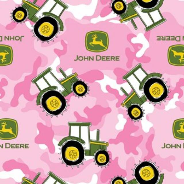 Pink John Deere Camouflage Tractor Fleece Fabric Fleece