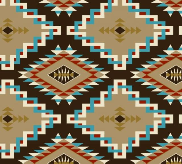 Spirit Link Brown Native American Fleece Fabric