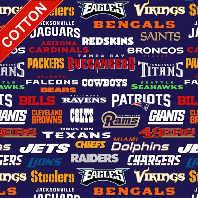 NFL All Teams Allover Cotton Fabric