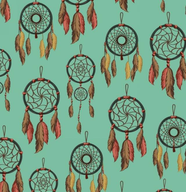 DreamCatcher Green Aztec Fleece Fabric