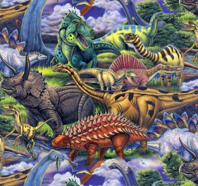 Dinosaurs Allover Fleece Fabric