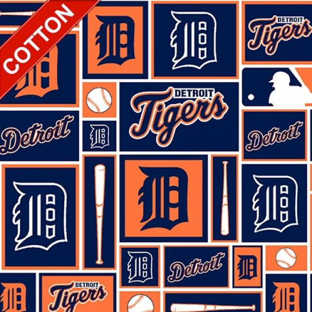 Detroit Tigers Block MLB Cotton Fabric