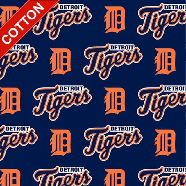 Detroit Tigers Allovers MLB Cotton Fabric