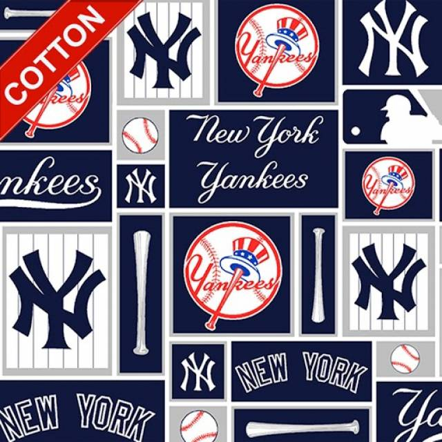 New York Yankees Blocks MLB Cotton Fabric
