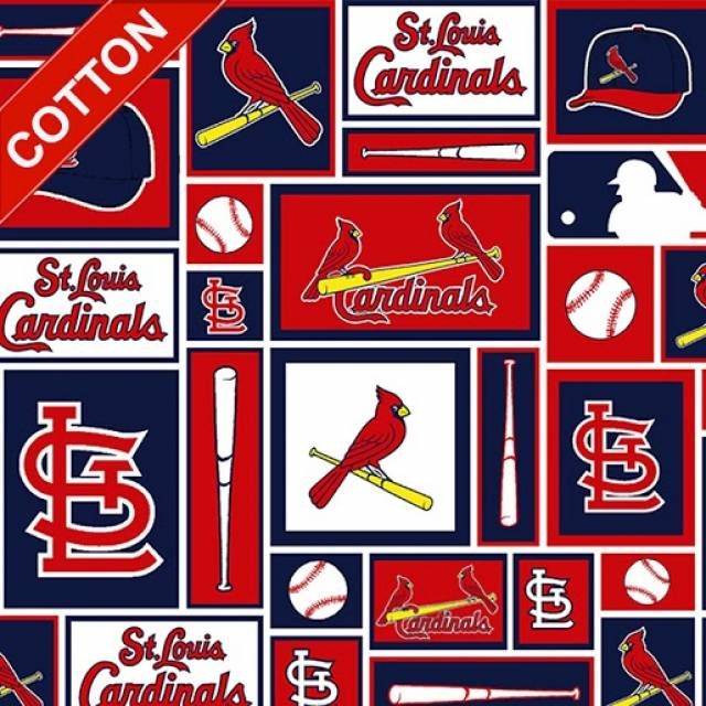 St. Louis Cardinals Blocks MLB Cotton Fabric