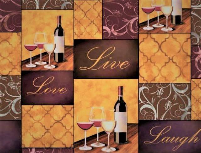 Live, Love & Laugh Wine Club Fleece Fabric