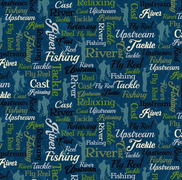 Fishing Words Allover Fleece Fabric