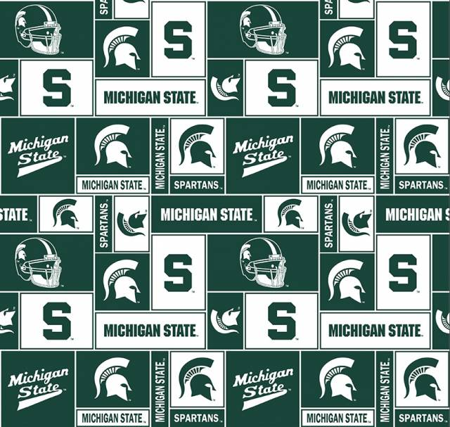 Michigan State University Spartans Fleece Fabric