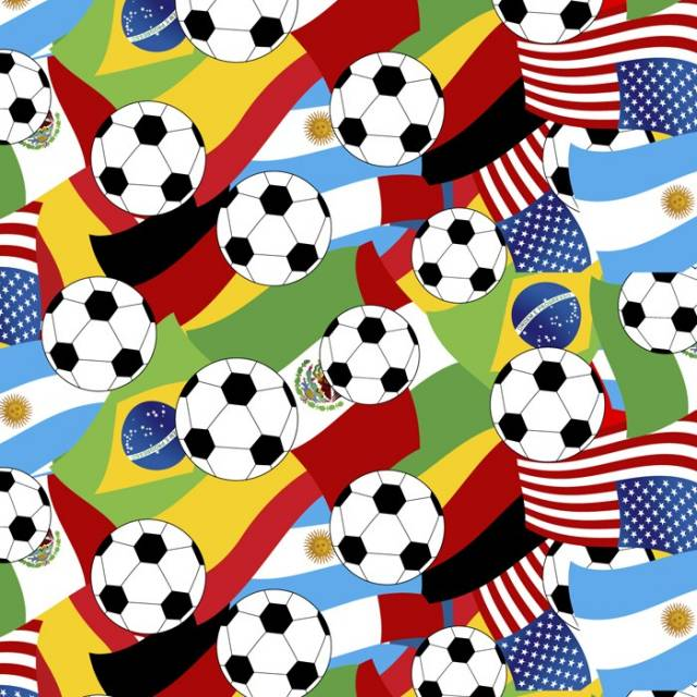 Soccer Balls & Flags Fleece Fabric