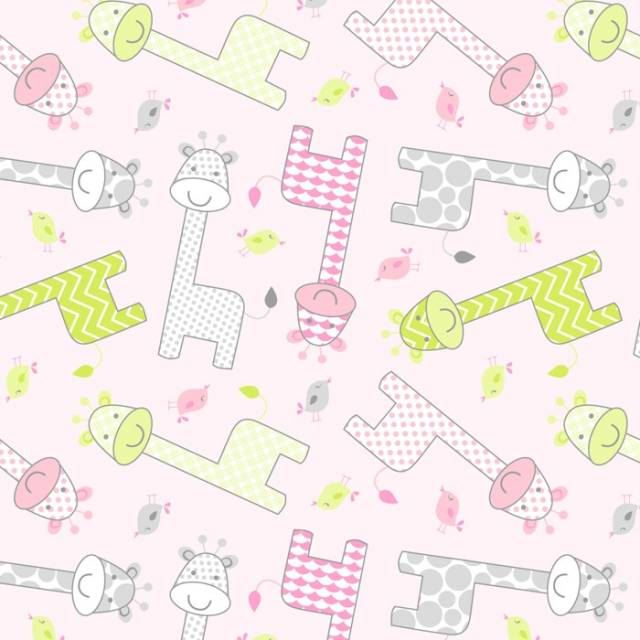 Baby Giraffe Pink Fleece Fabric