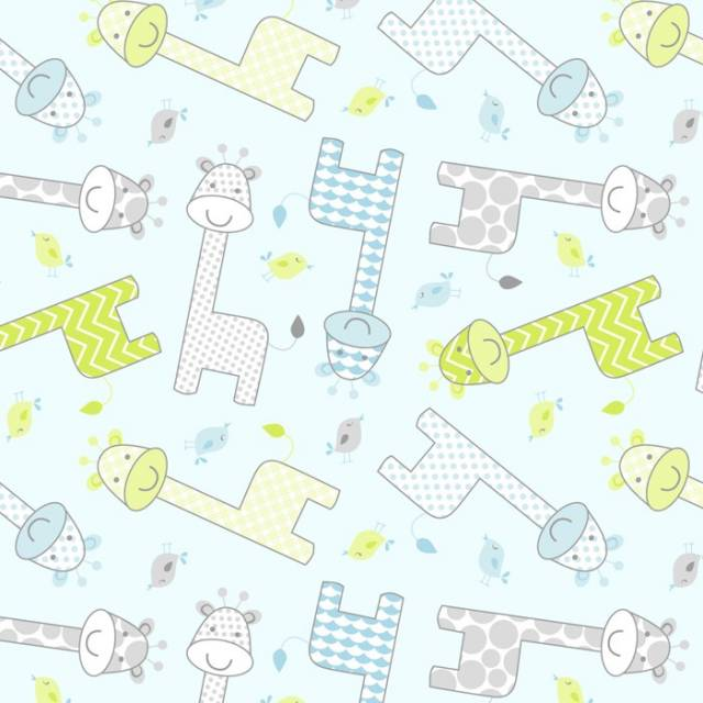 Baby Giraffe Blue Fleece Fabric