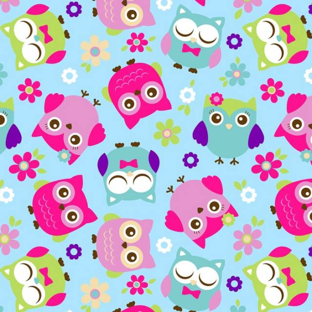 Whimsical Floral Owls Fleece Fabric