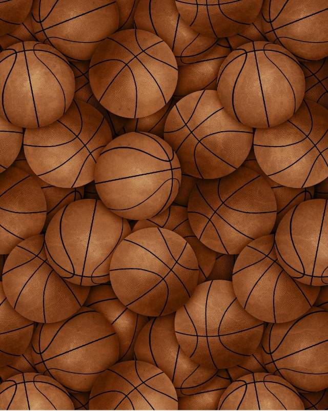 Vintage Basketballs Allover Fleece Fabric