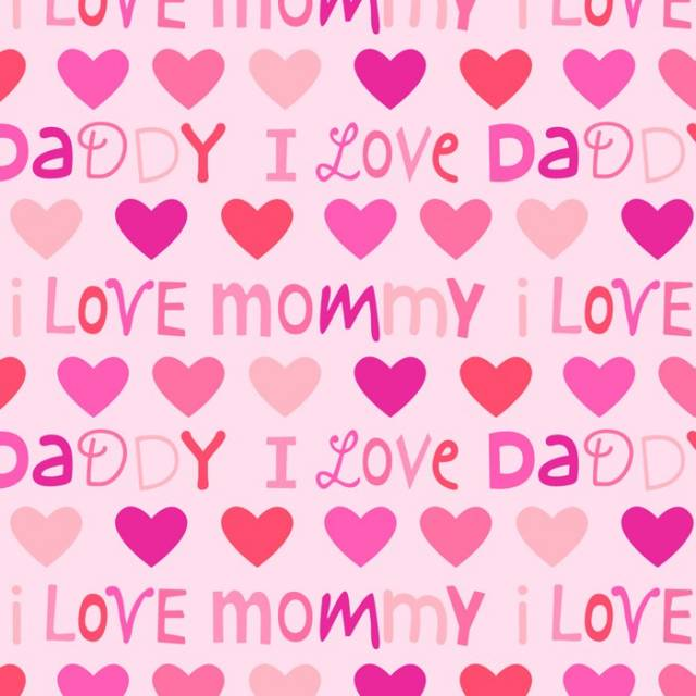 I Love Mommy & Daddy Pink Fleece Fabric