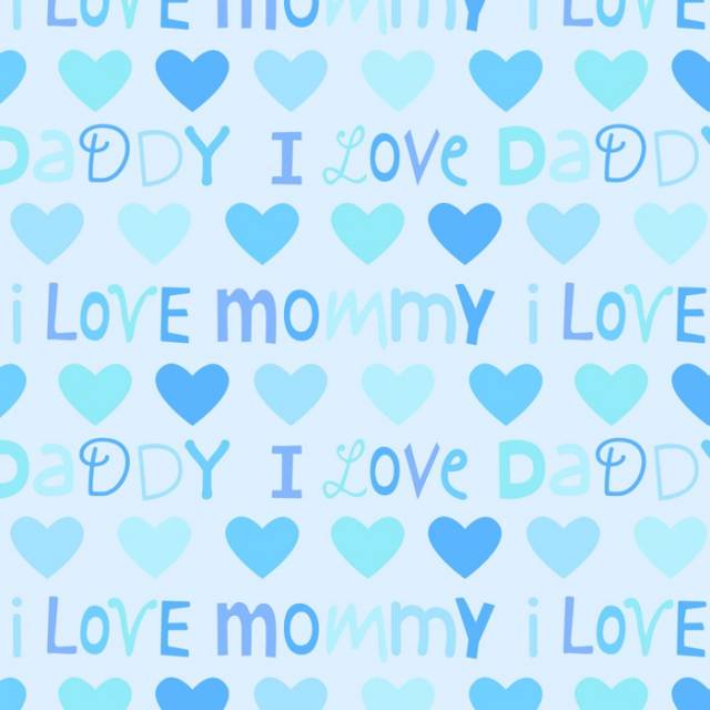 I Love Mommy & Daddy Blue Fleece Fabric