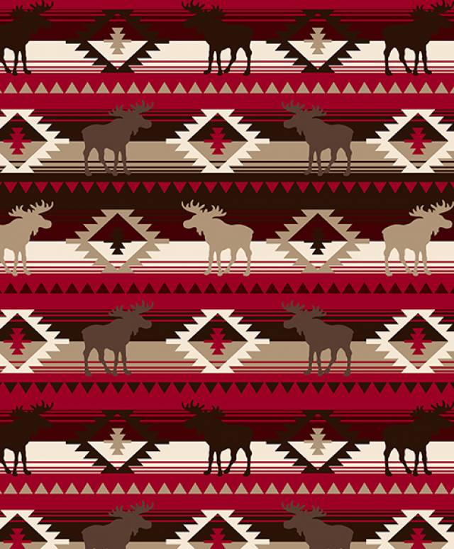 Moose Crossing Red Allover Fleece Fabric