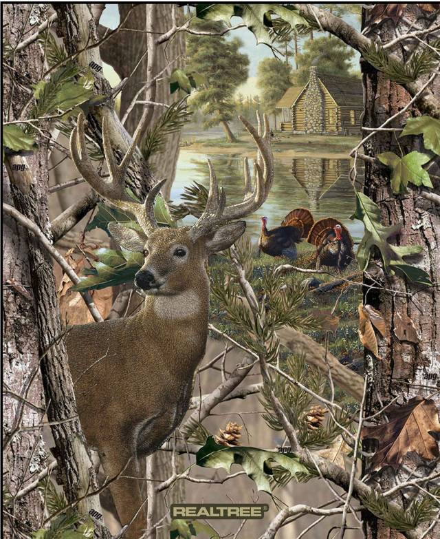 realtree deer and turkey fleece panel fabric