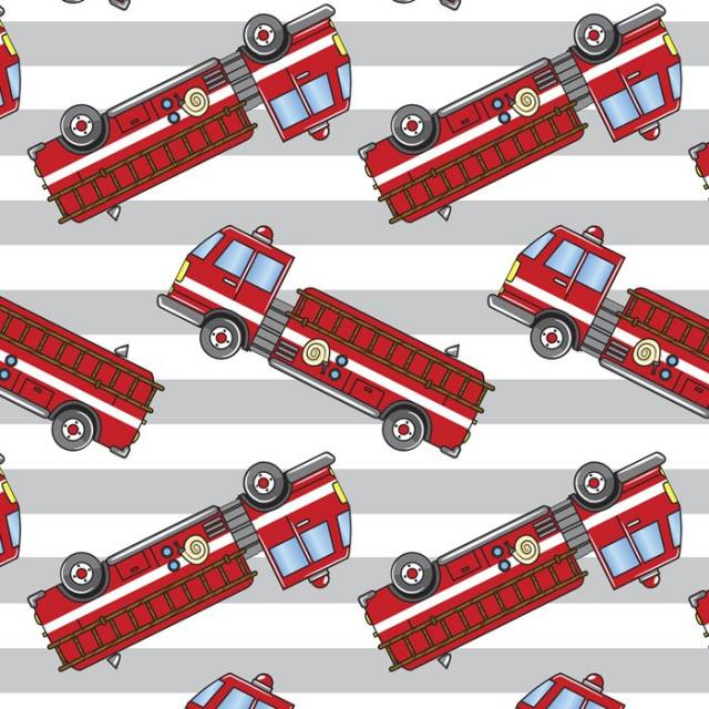Fire Trucks Allover Fleece Fabric