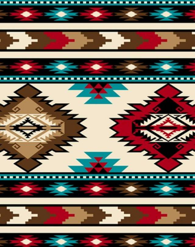 Southwest Stripe Red Aztec Fleece Fabric