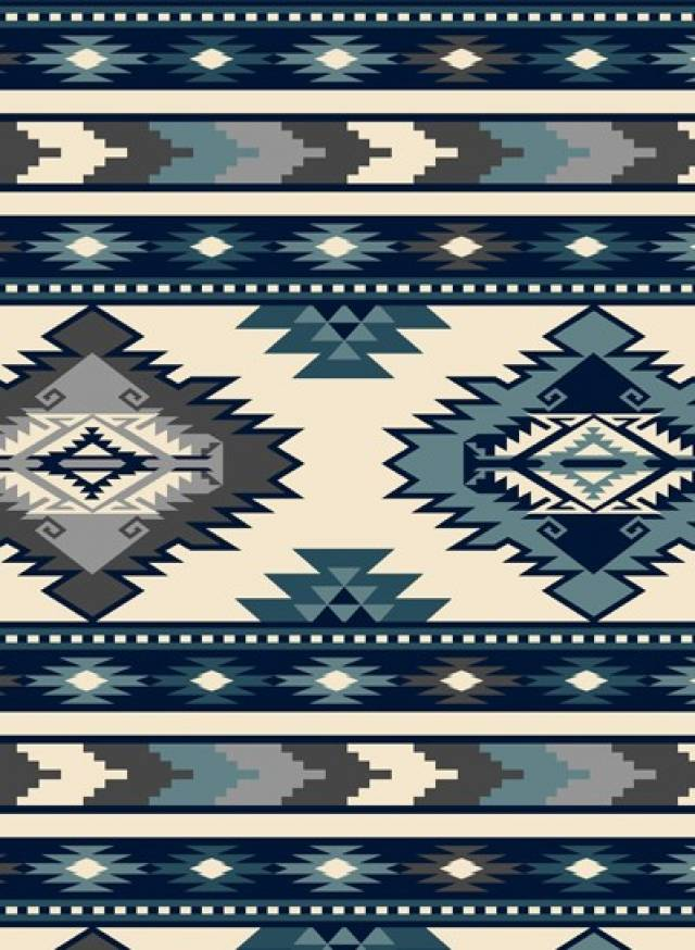 Southwest Stripe Navy Native American Fleece Fabric