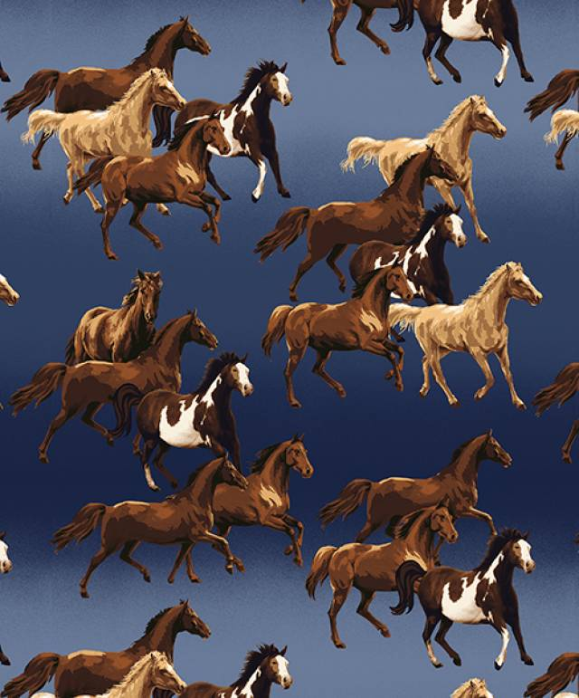 Ombre Horses Allover Fleece Fabric Fleece Fabric Print By The Yard