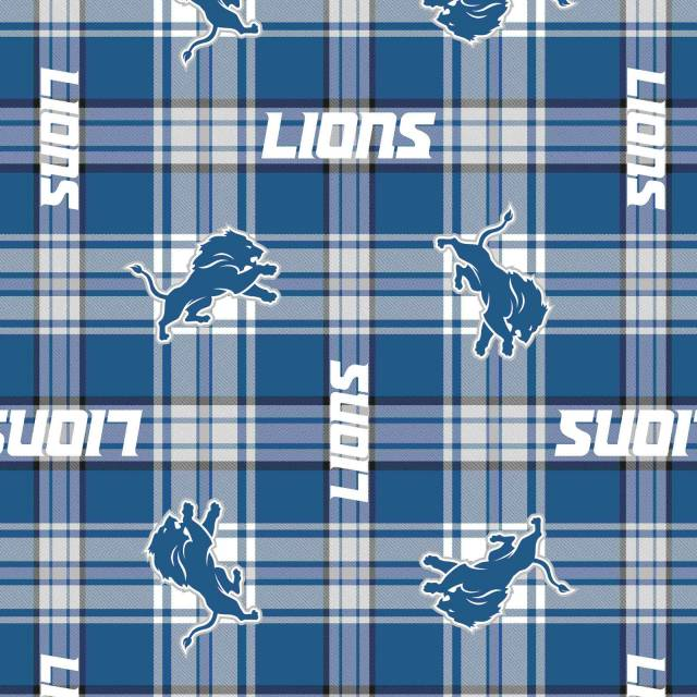 Detroit Lions new Plaid NFL Fleece Fabric