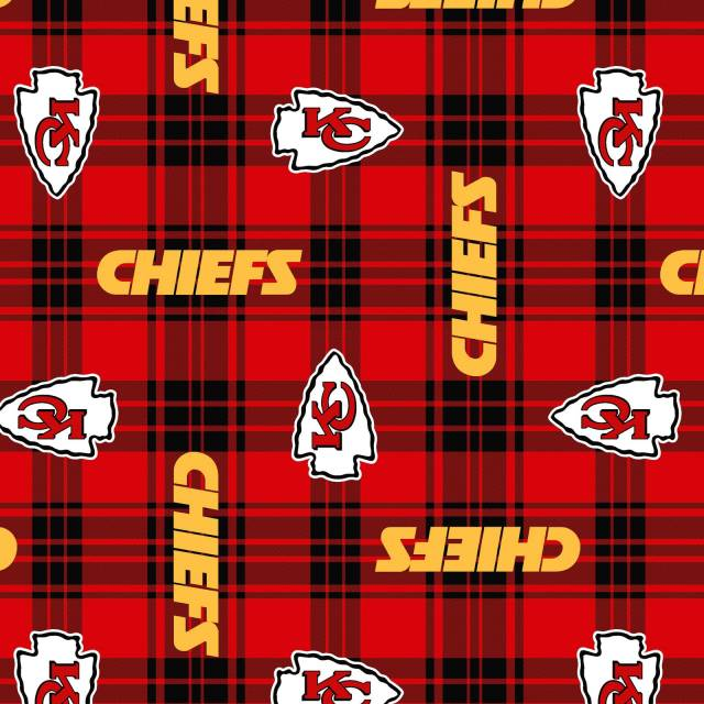 Kansas City Chiefs Plaids NFL Fleece Fabric