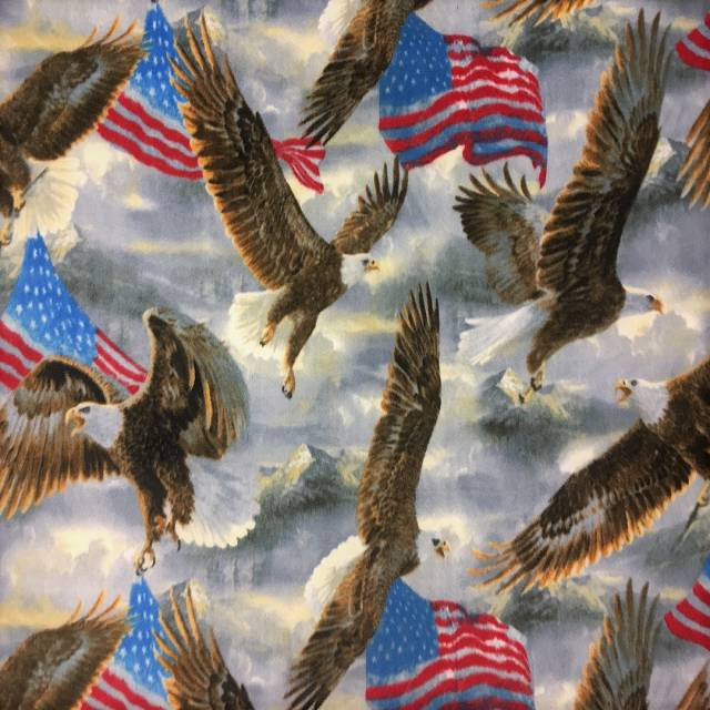Eagles and USA Flags Allover Fleece Fabric