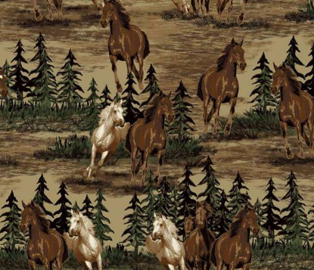 Mustang Valley Horses Fleece Fabric