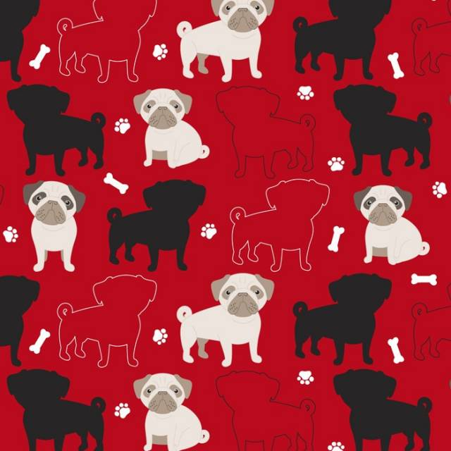 Pugs Dogs Allover Fleece Fabric