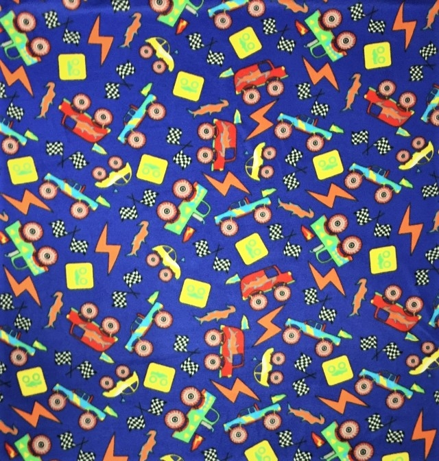 Monster Trucks Toys Fleece Fabric