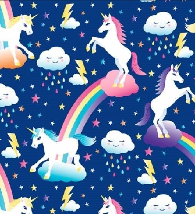 Unicorn with Rainbows Allover Fleece Fabric