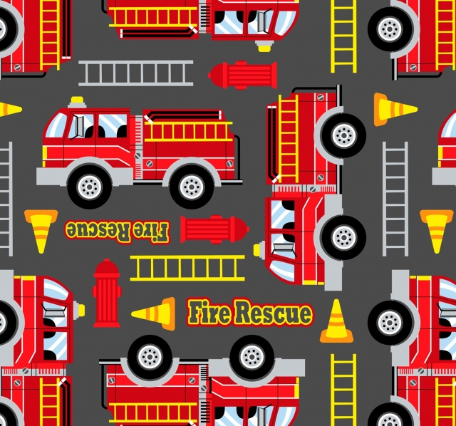 Fire Trucks Fleece Fabric