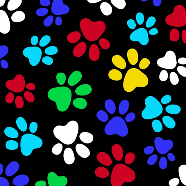 Multi Color Dog Paws Fleece Fabric