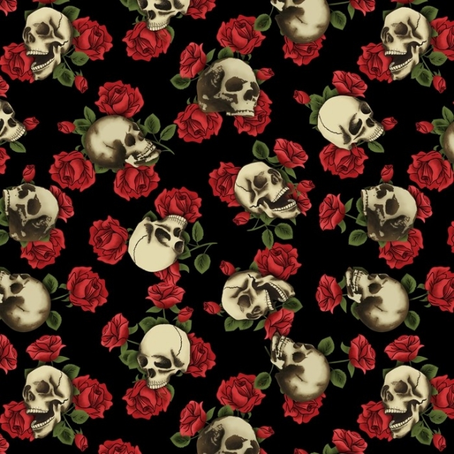 Skulls and Roses Fleece Fabric