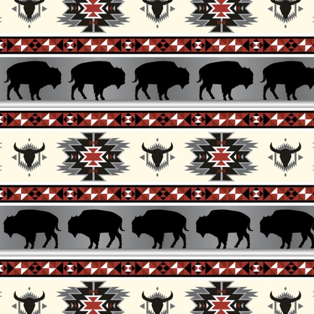 Buffalo Tribal Fleece Fabric