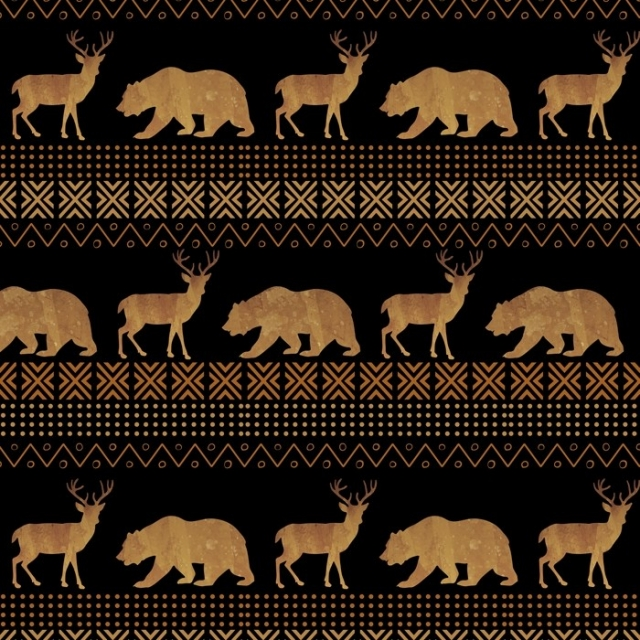 Tribal Forest Bear & Deer Fleece Fabric