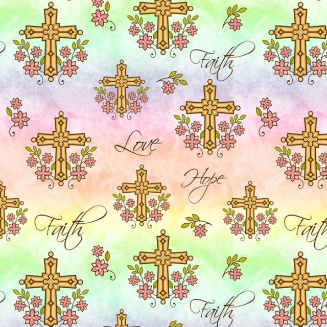 Love, Faith, and Hope Religious Christian Crosses Fleece Fabric
