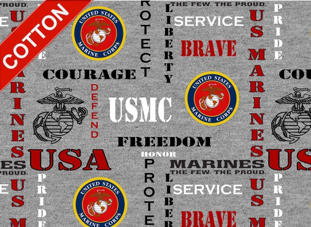 United States Marine Corps Heather Cotton Fabric