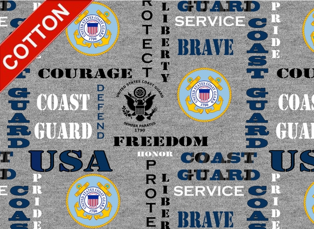 United States Coast Guards Heather Cotton Fabric