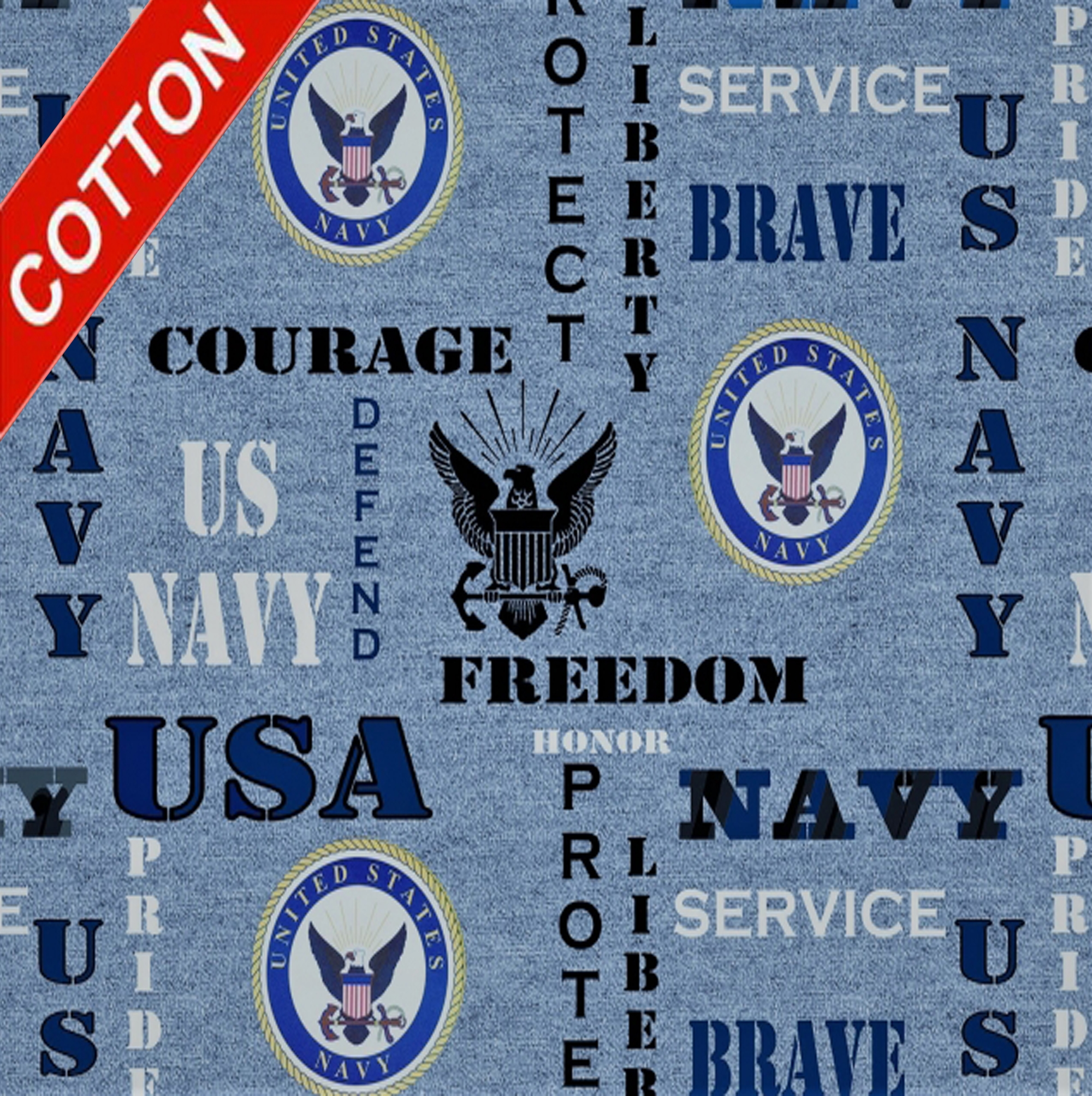 United States Navy Heather Cotton Fabric