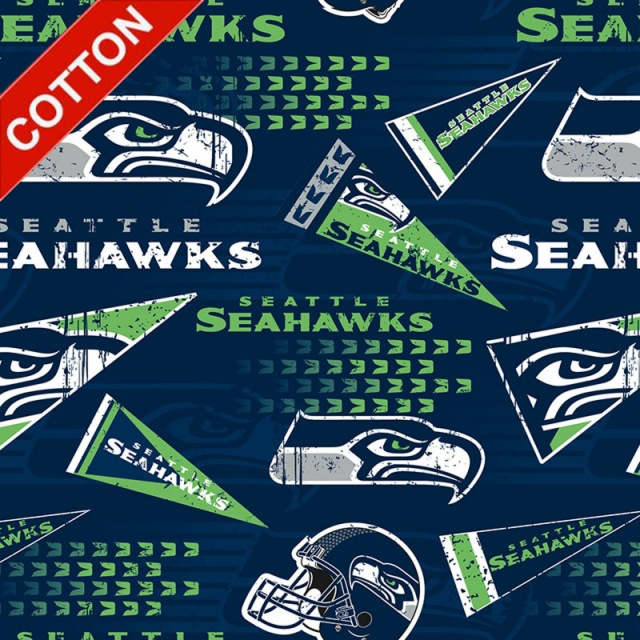 Seattle Seahawks Retro NFL Cotton Fabric