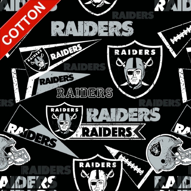 Oakland Raiders Retro NFL Cotton Fabric