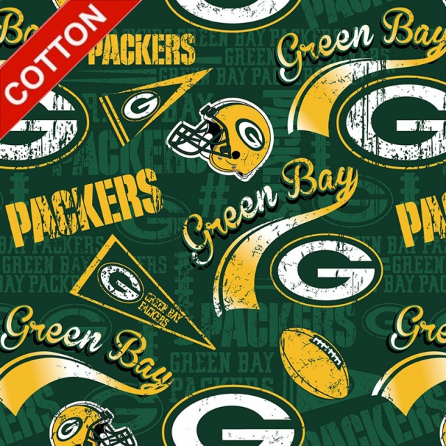 Green Bay Packers Retro NFL Cotton Fabric