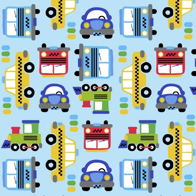 Transportation Cars Fleece Fabric