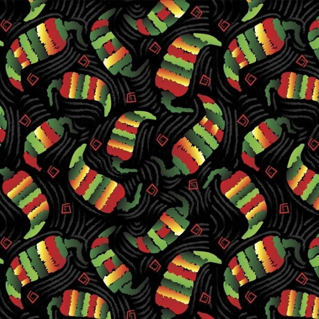 Chili Peppers Confetti Fleece Fabric