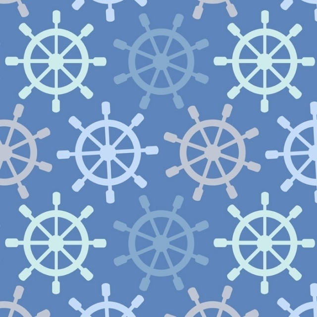 Nautical Boat Ship Steering Wheels Fleece Fabric