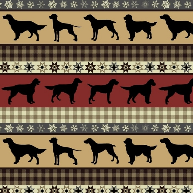 Hunting Dogs Tribal Fleece Fabric