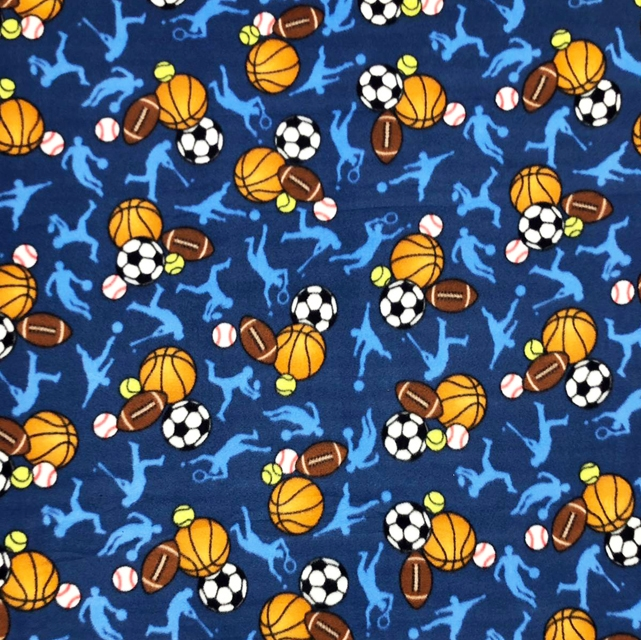 MVP All Stars Blue Multi Sport Balls Fleece Fabric