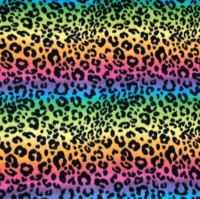 Cheetah Tie-Dye Rainbow Spots Fleece Fabric